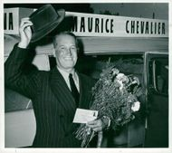 Maurice Chevalier on arrival at Bromma