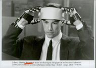 """Actor Keanu Reeves in the movie """"Johnny Mnemonic"""""""