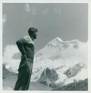 Edmund Hillary, alpineist and polar scientist, looks out of mother Makalus contours