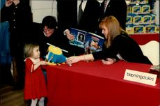 "Sarah Ferguson participated in the promotion of the book ""Budgie"" at Bloomingdale's."