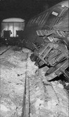 Eleven cars in Nynas train derailed between hand and Jordbrovägen. The carriages slid down the embankment and overturned in the forest.
