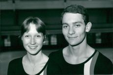 Ice skater Ian Jenkins (R) in practice with Dawn Packer