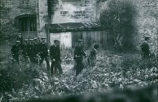 A group of police officers walking in the backyard of an old building, 1970.