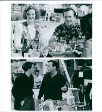 Scenes from the film Nine Months with Joan Cusack and Tom Arnold, 1995.