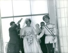 A happy King Hussein of Jordan in his marriage day to Princess Muna Al Hussein, May 1961.
