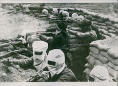 Colonial troops in a battle field during wartime.