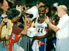 Friidrott World Cup Stuttgart. Linford Christie, final 100 m