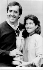 Portrait picture of Seve Ballesteros and his girlfriend Carmen taken in an unknown context.