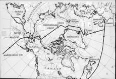 """A map view showing """"Nautilus"""" road from Pearl Harbor via the North Pole to England"""