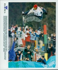 Ross Powers from the United States during the Men's Halfpipe Contest in the Winter Olympics 1998.