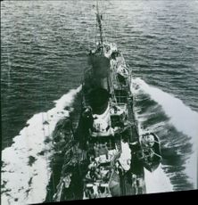 View of a huge ship in sea.