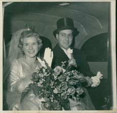 Ulla Britta Jeansson and George Adenauer during their wedding ceremony, 1957