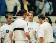 Stefan Edberg together with the Swedish team during the Davis Cup.