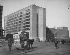 A view of a government building in Helsinki, Finland, 1944.