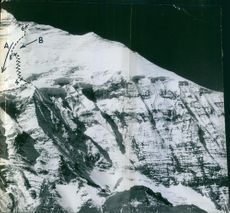View of snow capped mountain, and scientific text.