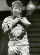 Tennis player during Stockholm Open 1983