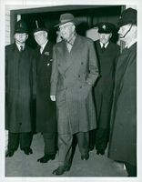 King Gustaf Adolf on arrival at Victoria Station on the 77th anniversary