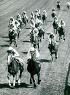 Lester Piggott at The Minstrel spies past Willie Carson on Hot Grove at Derby on Epsom