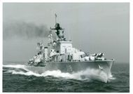 The destroyer HSwMS Halland (J18) at sea.