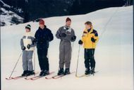 Prince Charles with Prince William and Prince Harry in the ski slope