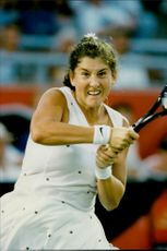 Monica Seles is playing a match in Toronto