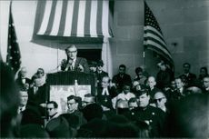 Nelson Rockefeller pictured delivering his speech in front of the crowd. 1968.