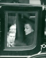 Sarah Churchill in a carriage, at funeral of Winston Churchill.
