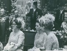 Princess Christina, Beatrix and another princess attending a royal ceremony.