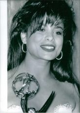 Paula Abdul with the Emmy she won for her choreography work on The Tracey Ullman Show. 1989.