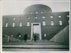 1933 Front view of Stockholm Public Library in Sweden.