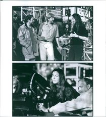 Steven-Charles Jaffe, James Cameron and Kathryn Bigelow have a discussion during the filming of Strange Days.