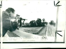 A police marksman with his sights on the main road into malton.
