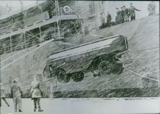 Supplies arrive for U.S. base in Iceland during the war, Denmark.