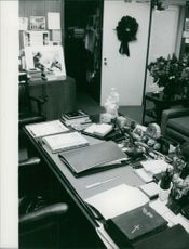 View of an office behind the office table.  - Feb 1959