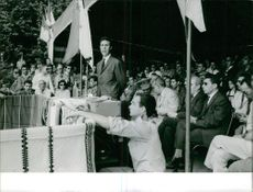 Ahmed Ben Bella delivering a speech, 1962.