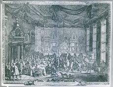Illustration of a palace, people gathered together and having communication with each other.
