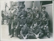 Brigadier with some of the officers of units operating in this force (Canadian and British). 1941.