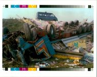 The Beaune coach crash:view of the truck that collided.