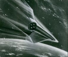 An illustration of a space shuttle in space.
