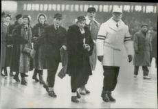 Princess Ragnhild, Avery Brundage, Prince Harald, Olaf Diflev-Simonsen and Princess Josefhin Charlotte during the 1952 Winter Olympics