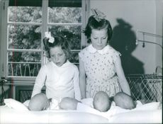 Two little girls looking at newborn babies.