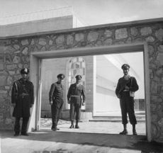 Guards at the main entrance of the palace in Tehran.