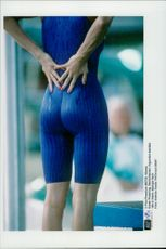 British swimmer Karen Pickering in figurative swimsuit under 100m frisim in the Olympic Games in Atlanta 1996
