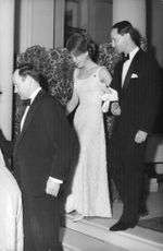 Princess Irene and Carlos Hugo going down the stairs, 1964.
