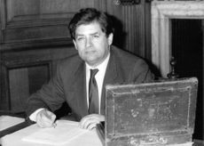 Nigel Lawson with ballot box.