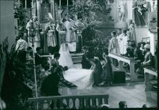 Diane and Carl, Duchess and Duke of Württemberg, wedding ceremony. France, 1960.
