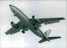 Airbus A300 flying in the air, 1988.