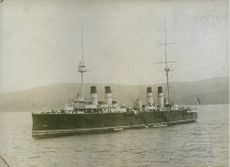 A view of ship in the sea during Tyskland war.