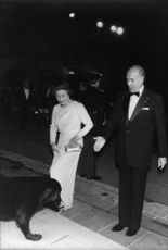Queen Elizabeth together and President Giscard d'Estaing are welcomed to the Elysees Palace of the Labrador Samba