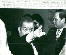 Prince Norodom Sihanouk gesticulates when he storms out of a television interview in Montreal